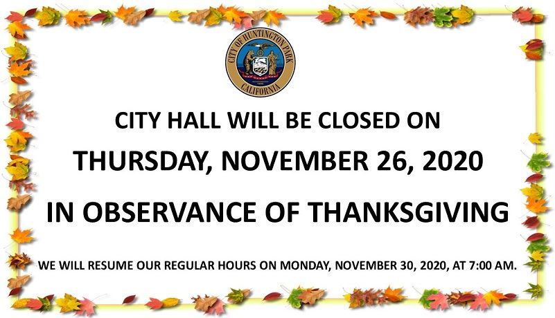 Closed Thanksgiving Day Nov. 26